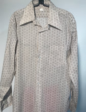 1970s Brown Patterned Men's Disco Shirt Button Down Size Large