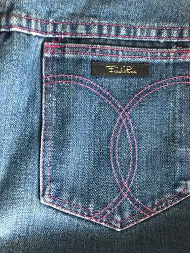 1980s Pucci High Waisted Jeans With Pink Stitching 26