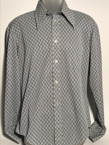 Men's Blue & White Checked Shirt Size Large RENTAL L820