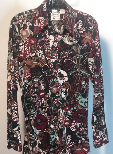 Men's 1970s Disco Shirt Size Small - Flower Goddess RENTAL S996