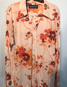 Geoffrey Scott Floral Men's Disco Shirt Size Large