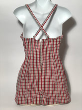 1950s Jantzen Red Pink Black Plaid Full Bathing Suit Made in USA