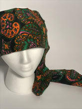 1970s Vintage Long Multicolored Paisley Head Scarf