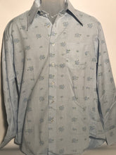 Men's Kmart 1970s Baby Blue Floral Dress Shirt Size Large L