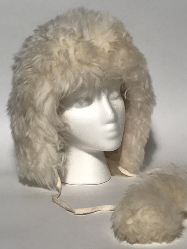 Vintage 1960s - 1970s Natural Italian Sheepskin Lambswool Sheared  Pom Pom Hat