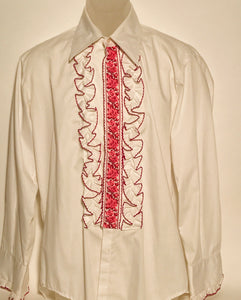 After Six Vintage Pink Men's Disco Ruffled Tux Shirt Size Large RENTAL
