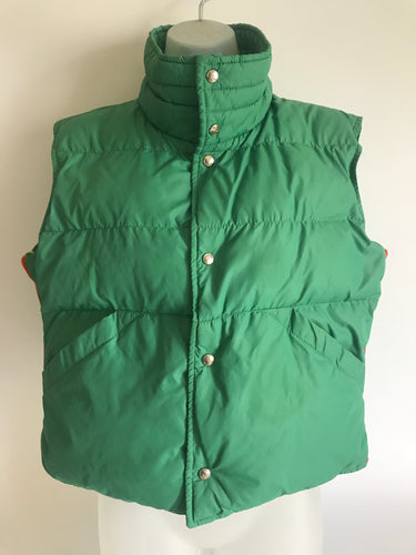 Late 1970s Women's XL Green Roffe Down Striped Snap Button Up Ski Vest
