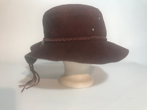 Vintage 60s - 70s Brown Suede Leather Hippy Braided Grommet Fringe Hat