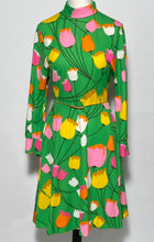 Early 1970s Turtleneck Tulip Floral Dress By PLW