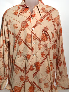 Orange Floral Men's Disco Shirt Size Double Extra Large Disco RENTAL XXL913