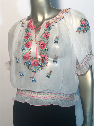 Vintage Hand Embroidered Hungarian Peasant Blouse