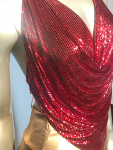 Early 80s Whiting & Davis Rare Red Mesh Halter Top With Original Box Excellent