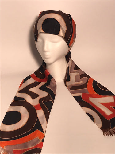 1970s Long Vintage LOVE Patterned Head & Neck Scarf