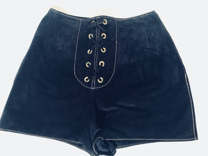 1960s - 1970s Suede Blue Color Hot Pants Grommet Lace Up Hippie Shorts