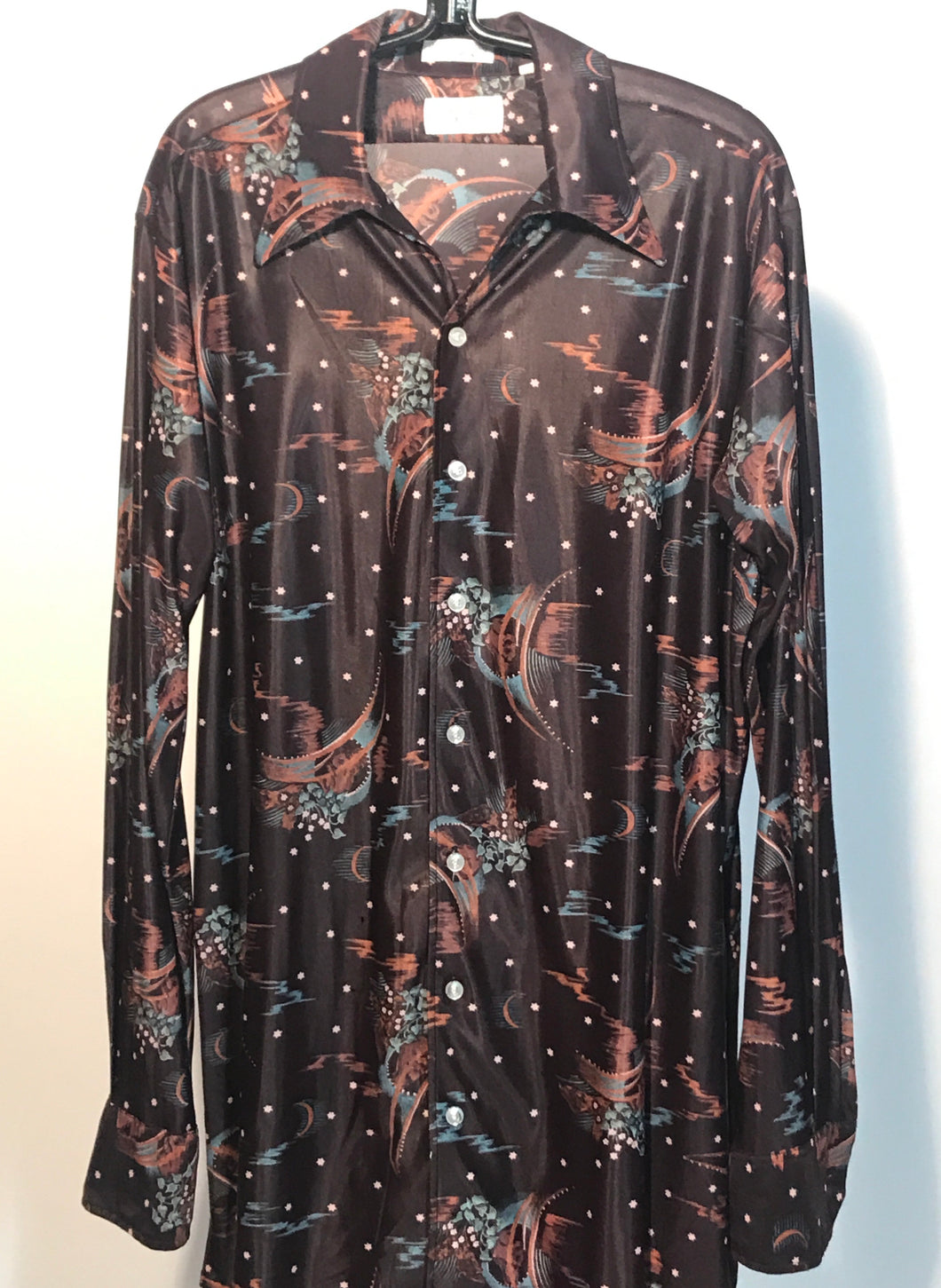 1970s Brown Moon & Star Mens Disco Shirt Size Large