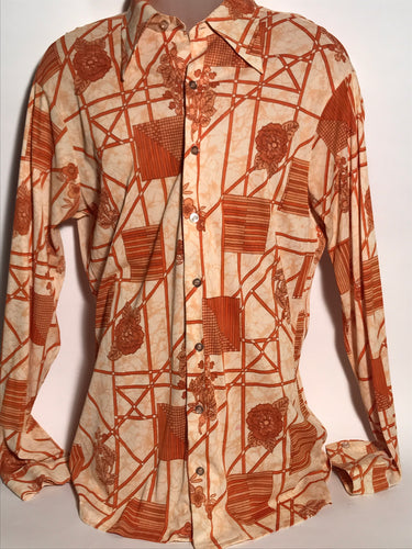 Tall Size Vintage 1970s Men's Disco Shirt Extra Large RENTAL XL905