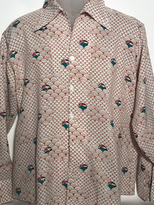 Vintage 1970s Landmark Men's Volcano Disco Shirt Size Large RENTAL XL831
