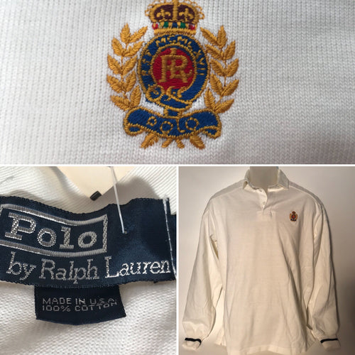 Men's Deadstock Crest Ralph Lauren White Long Sleeve Polo SZ M