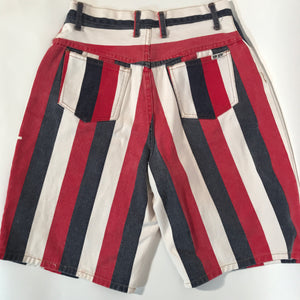 "Hip Hop Brand Red White & Blue Long Denim Unisex Shorts 30""W"