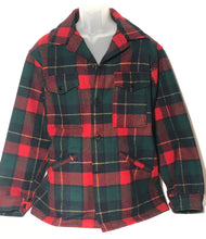 Vintage 1960s Mens Pendleton Lumberjack Red Wool Plaid Hunting Field Jacket Sz L