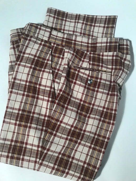 Unisex Brown Plaid Vintage Seersucker Pants 35