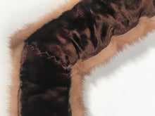 Brown Mink Fur Velvet Lined Neck Scarf Wrap Clamp Closures