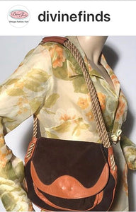 1970s Soft Leather Shoulder Hobo Handbag Rope Handle