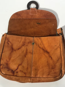 1970s Soft Leather Shoulder Hobo Handbag Flap Closure Circle Accent