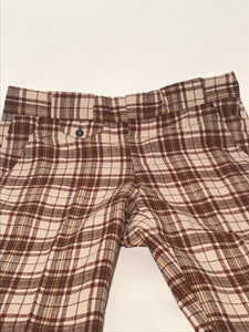 "Unisex Brown Plaid Vintage Seersucker Pants 35"" x 27"""