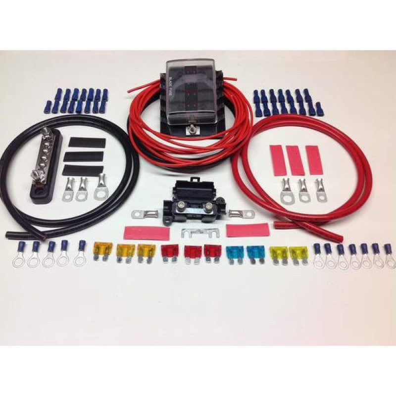 10 Way Fuse Box Distribution Kit with Negative Bus Bar Cable Terminals & Fuses
