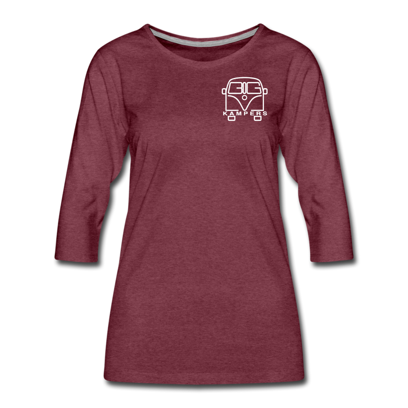 Women's Premium 3/4-Sleeve T-Shirt - heather burgundy