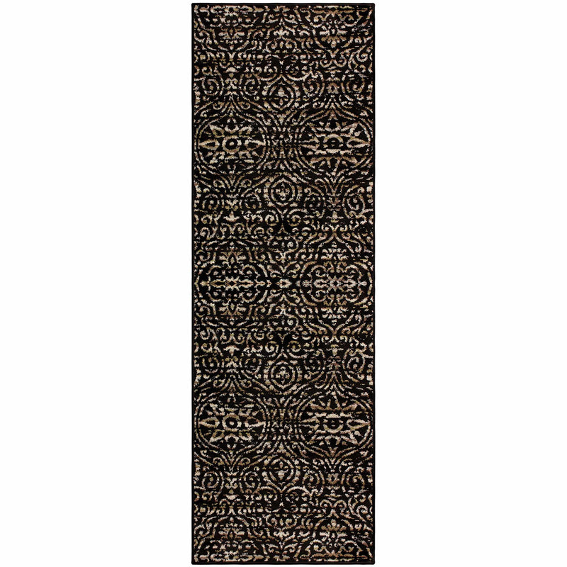Carson Damask Area Rug, Bohemian, Contemporary