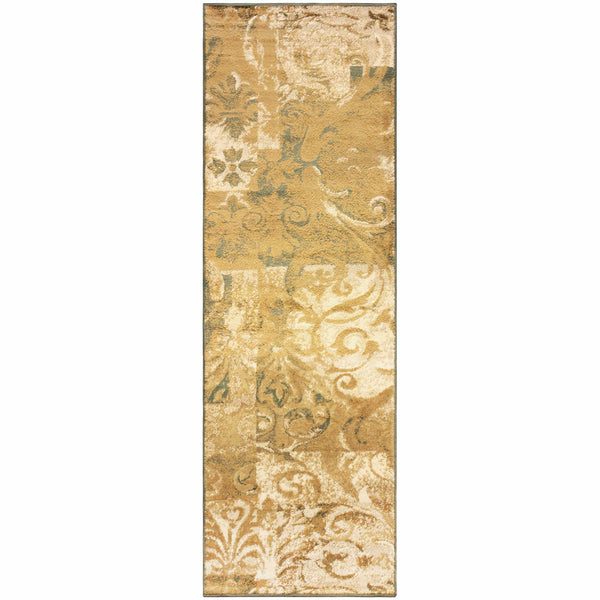 Modern Scroll Area Rug, Distressed, Contemporary