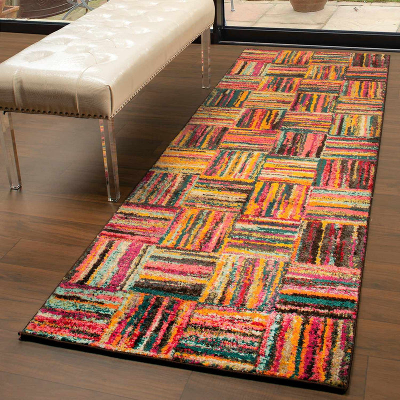 Twila Modern Patchwork Rainbow Cookies Design Rug