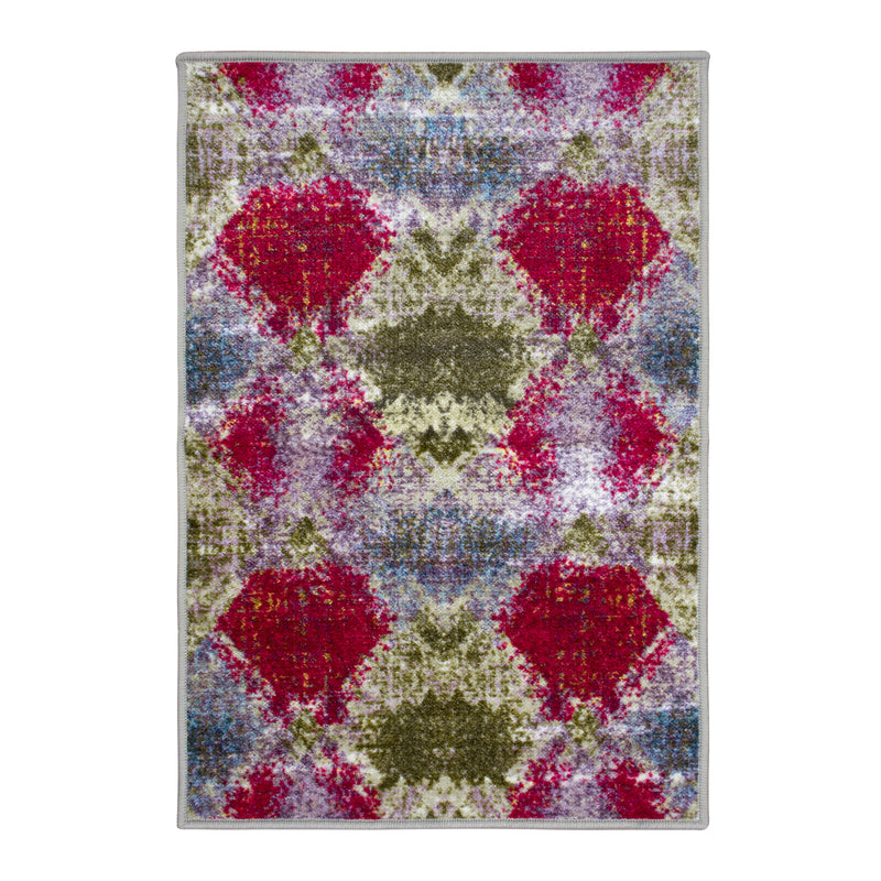 Amarsi Non-Slip Foldable Modern Abstract Trellis Rug
