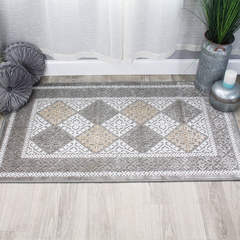 Modern Geometric Floral Diamond Indoor Home Area Rug Collection Transitional Medallion Trellis Design with Spray Latex Backing Scatter Accent Rug by Superior