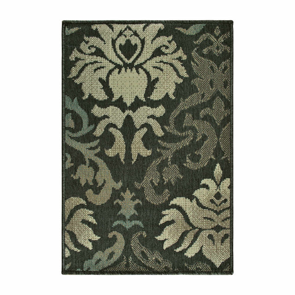 Lowell Indoor/Outdoor Area Rug, Floral Damask, Contemporary