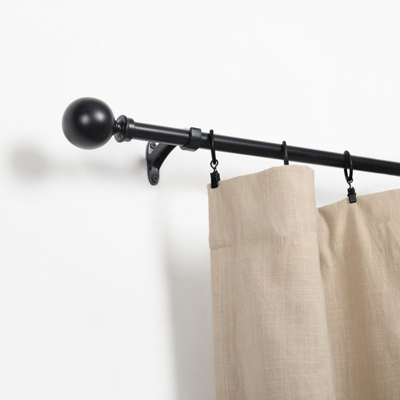 Leron 100% Iron Expandable Window Curtain Rod with Round Ball Finials