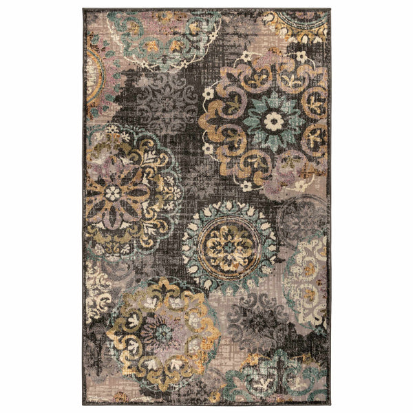 Ceyone Indoor Area Rug, Floral Pattern, Contemporary, Jute Backing