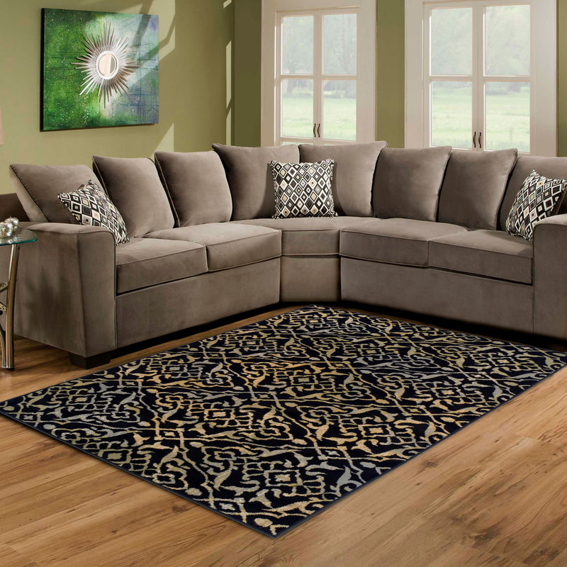 Corbin Area Rug, Damask Pattern, Modern, Contemporary Setting