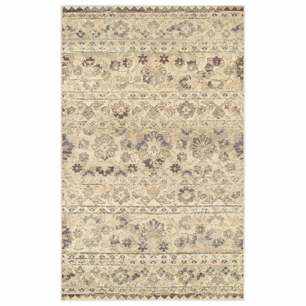 Fawn Floral Area Rug, Distressed, Damask Pattern, Vintage Style