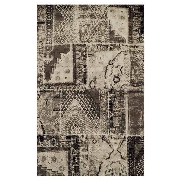 Parquet Area Rug, Patchwork Design, Tribal, Distressed, Contemporary