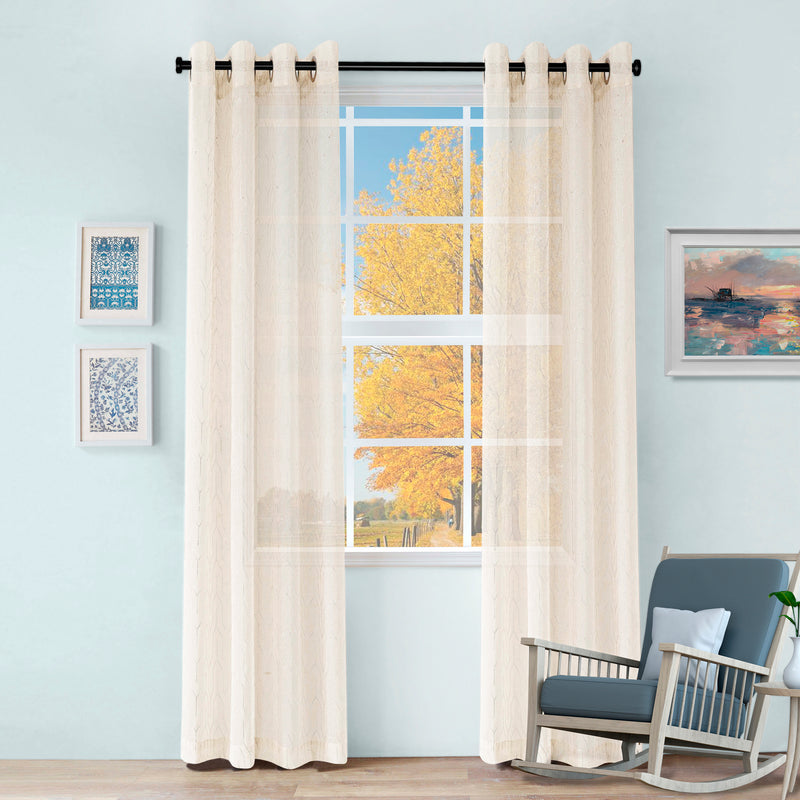 Cormac Diffused Light Shimmering Geometric Sheer Curtain Set
