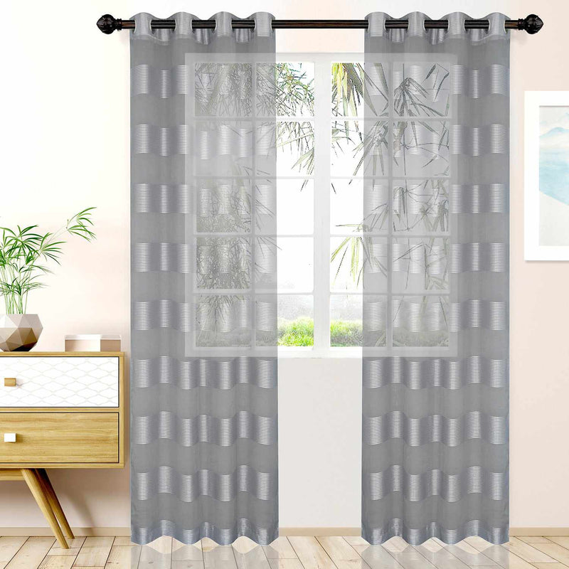 Dalitso Rope Horizontal Bands Soft Diffused Light Sheer Curtain Set