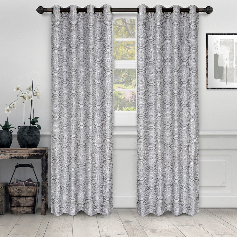 Eminence Opaque Light Filtering Mandala Jacquard Weave Curtain Set
