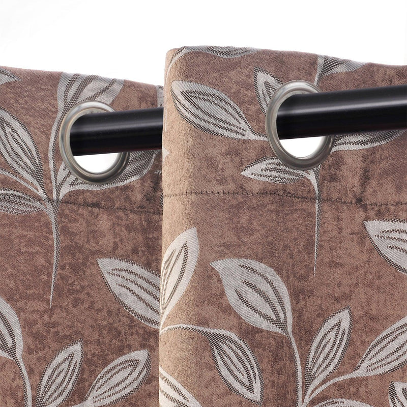 Leaves Jacquard Thermal Insulated Blackout Grommet Panel Curtain Set