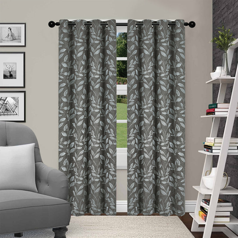 SUPERIOR LEAVES BLACKOUT 2 PANEL CURTAINS