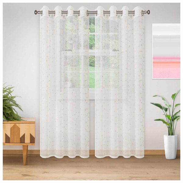 SUPERIOR DELICATE FLOWER 2 PANELS SHEER CURTAINS