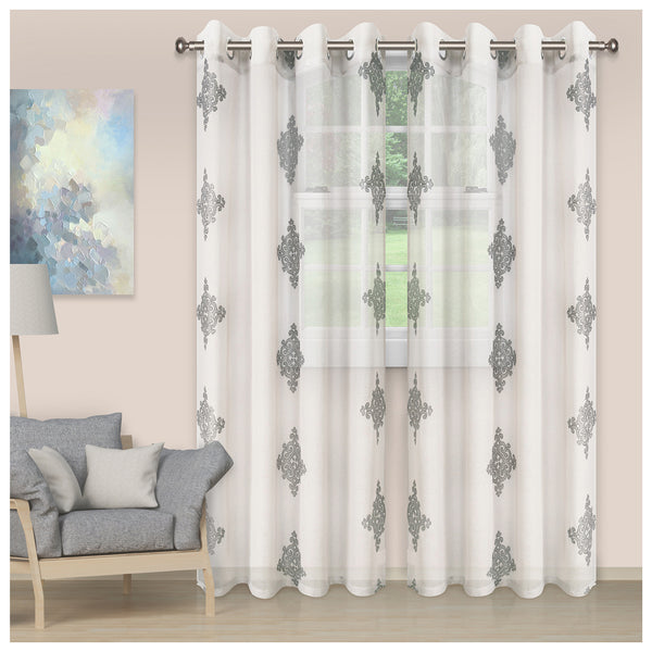DAMASK 2 PANELS SHEER CURTAINS