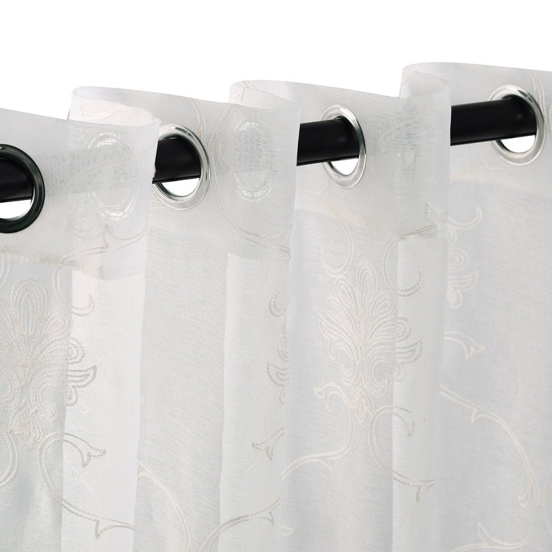Embroidered Elegant Scroll Sheer Grommet Panel 2-Piece Curtain Set